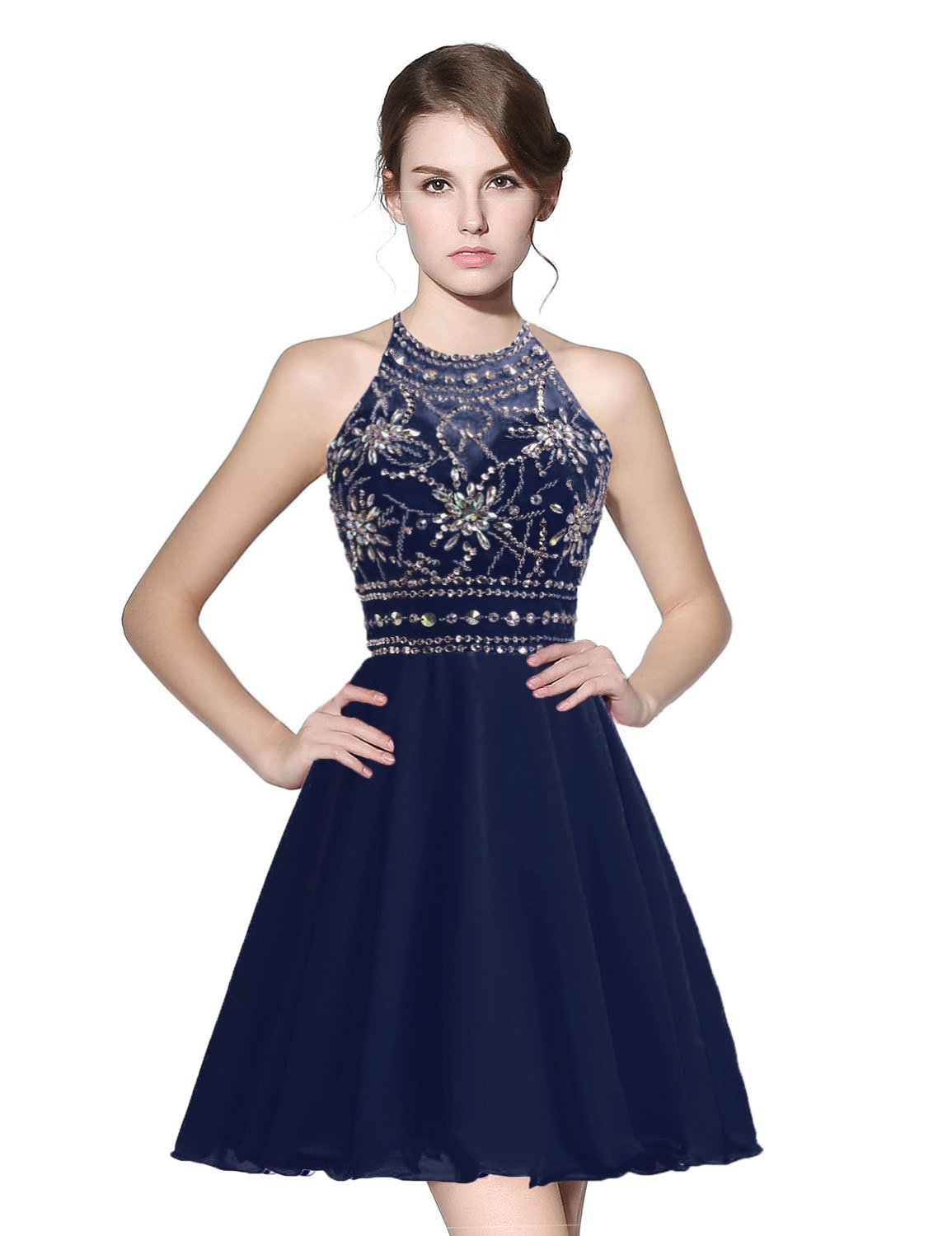 528f7e2e95 anmor Women s Sexy Halter Backless Homecoming Dresses Chiffon Sweet 16 Prom  Dresses Navy Blue US4