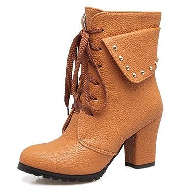 SHOWHOW Damen Nieten Chelsea Boots Stiefeletten Mit Absatz Braun 34 EU OM6hJM