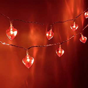 Fairy Heart Lights Valentines Centerpiece Decorations Heart String Lights 10 Feet 20 LED Battery Operated for Valentine Day Mother's and Father's Day Wedding Anniversary Engagement Date Party Decor