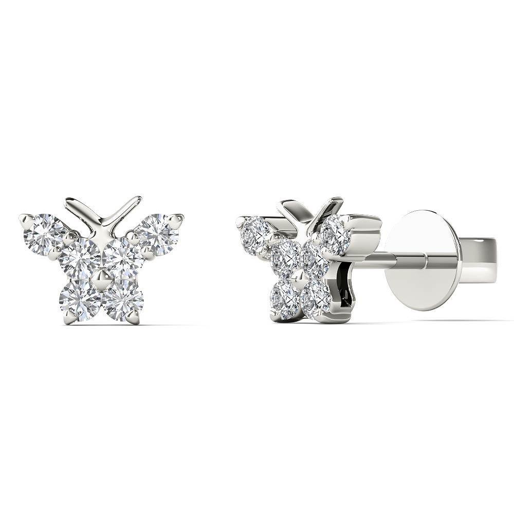 JewelAngel Kids Big Girl's 1/6 Carat TDW Diamond Cute Butterfly Stud Earrings (H-I, I1-I2) 10K White Gold