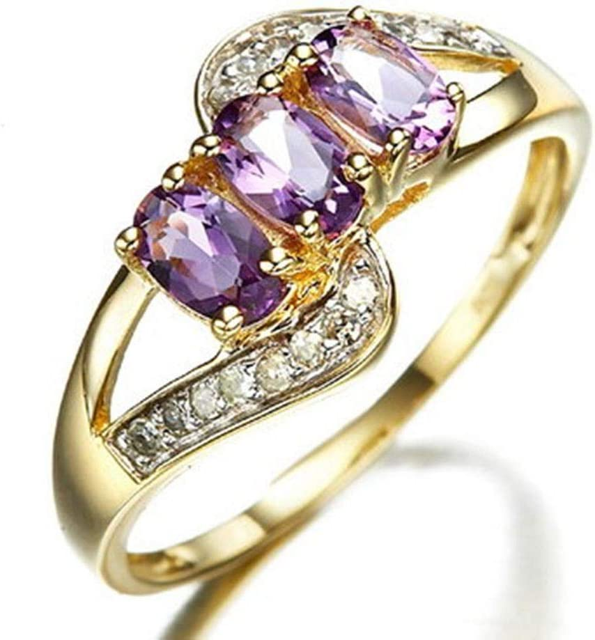 Rings Size 6 Purple Amethyst Crystal CZ Women/'s Yellow Gold Filled Wedding Gift