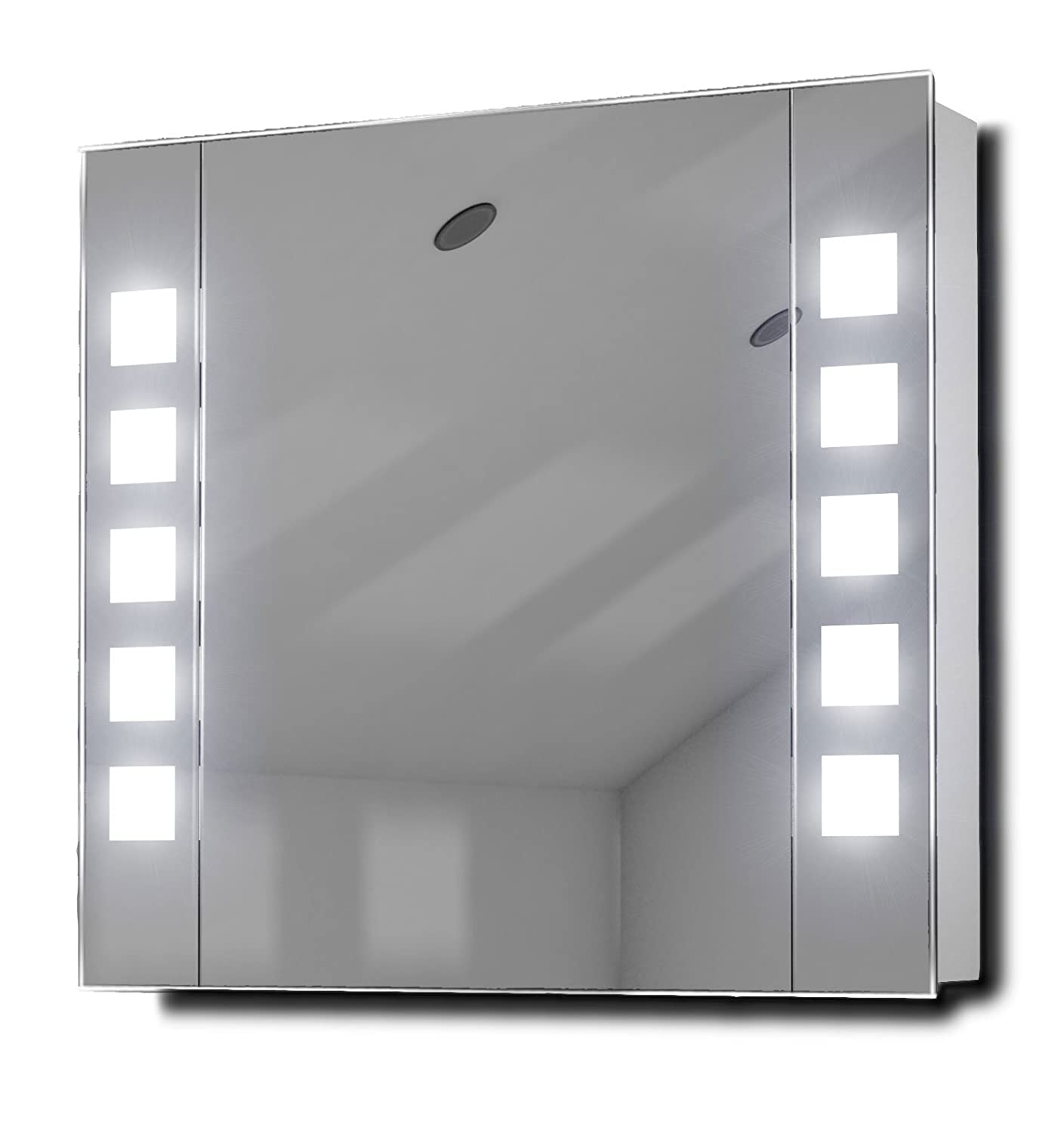Noble LED Illuminated Bathroom Mirror Cabinet With Sensor Shaver K16 Amazoncouk Kitchen Home