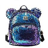 RARITYUS Women Girls Dazzling Sequins Backpack with Cute Ears Shoulder Bag Satchel