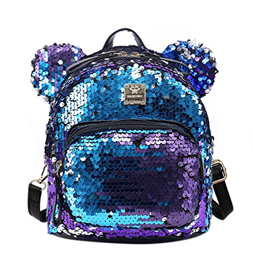 RARITYUS Women Girls Dazzling Sequins Backpack with Cute Ears Shoulder Bag Satchel ()