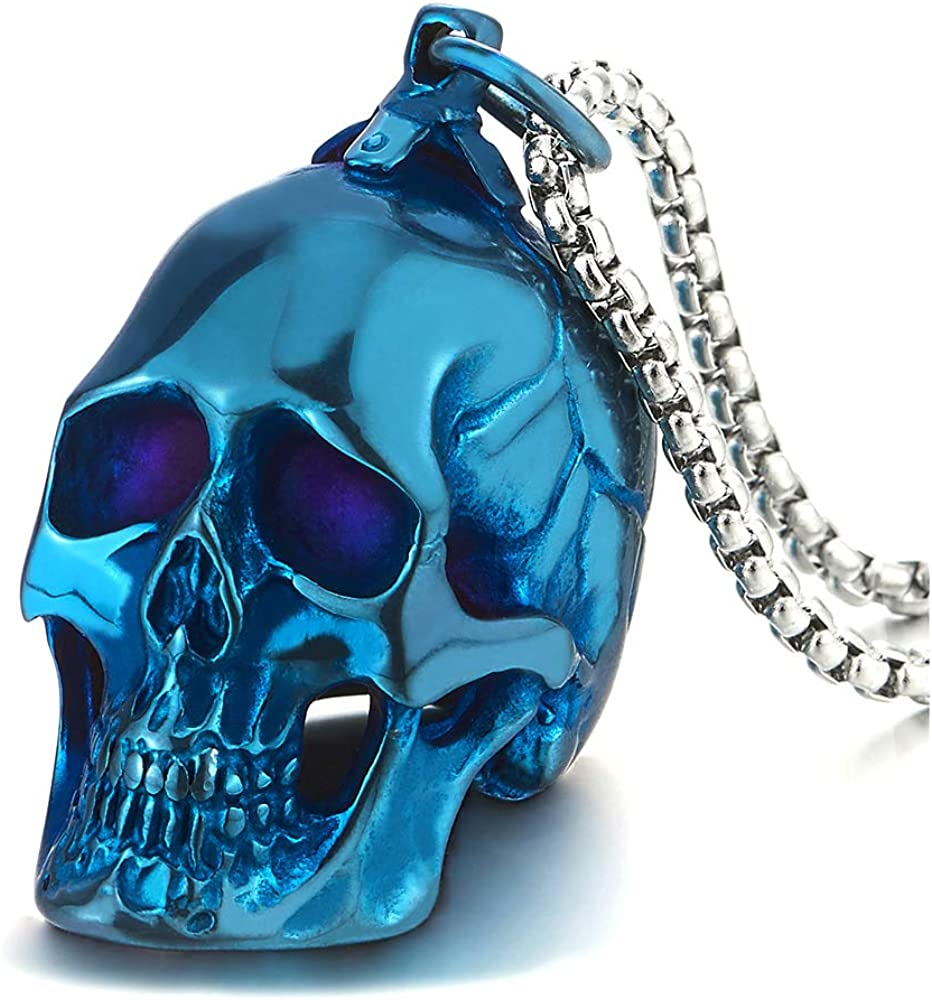 COOLSTEELANDBEYOND Large Stainless Steel Skull Pendant Necklace for Men High Polished with 30 Inches Wheat Chain
