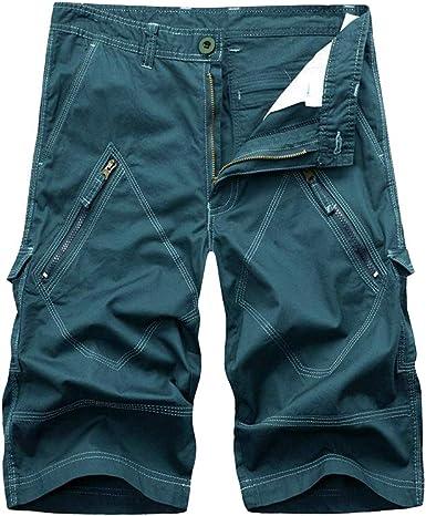 Hombres Pantalón Corto Bermudas Bolsillos Suelto Algodón Color ...