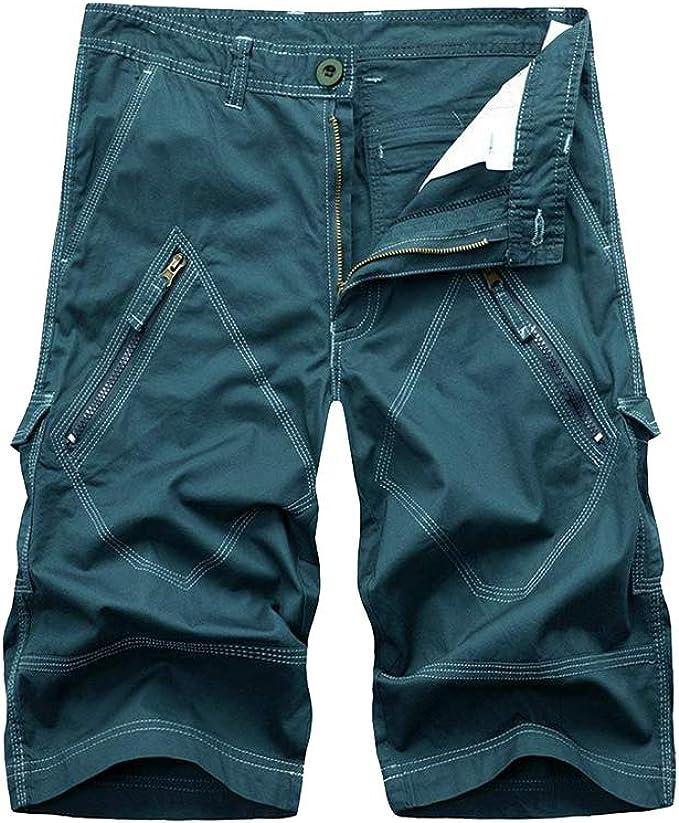 Hombres Pantalón Corto Bermudas Bolsillos Suelto Algodón Color Sólido Chino Verano Shorts Tamaño Grande: Amazon.es: Ropa y accesorios