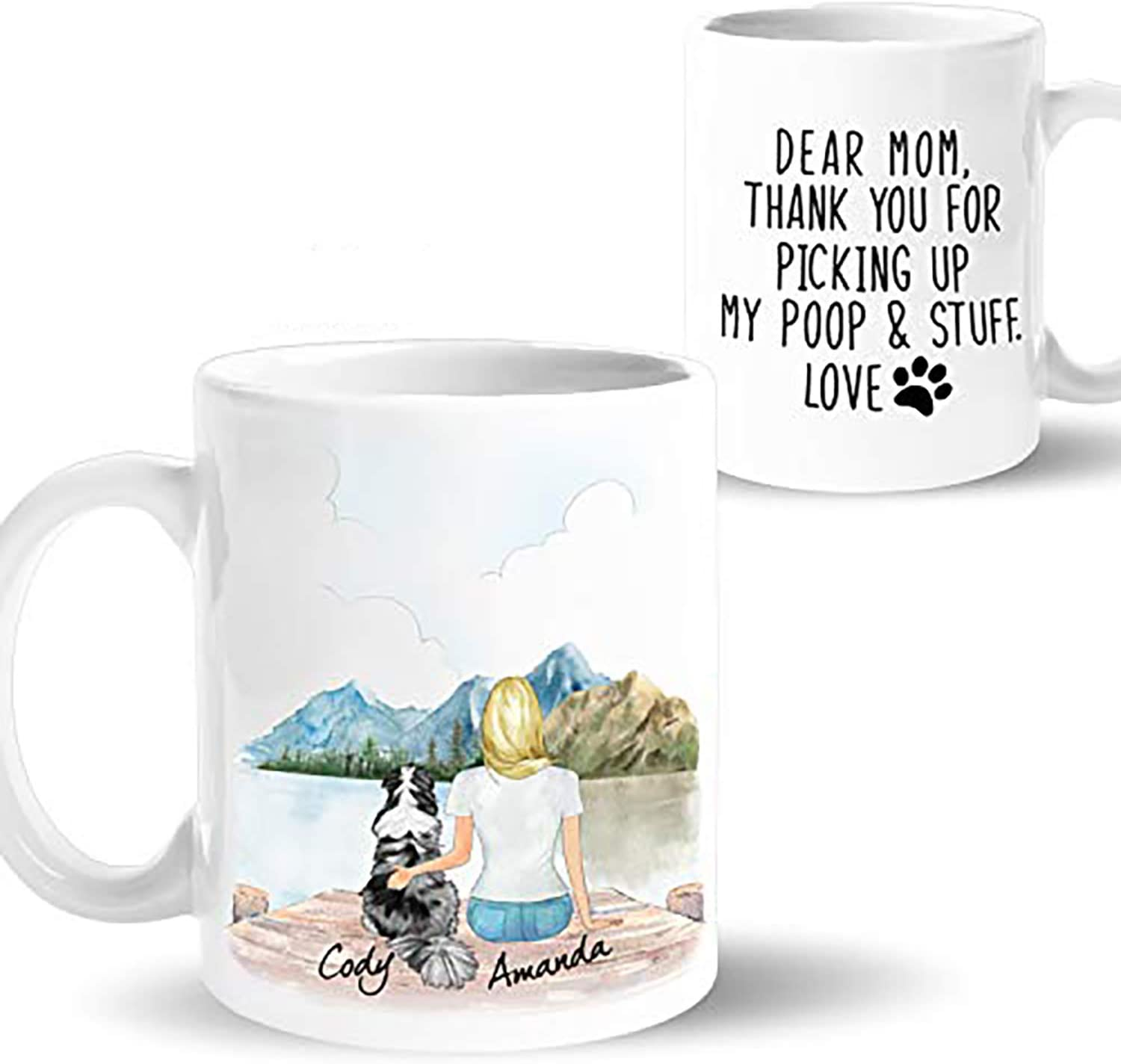 Amazon Com Personalized Dog Mom Coffee Mug Customizable Pet Name And Picture Pet Memorial Cup Custom Gift Idea For Dog Lover Women On Birthday Mothers Day Christmas 15oz Mountain Kitchen Dining