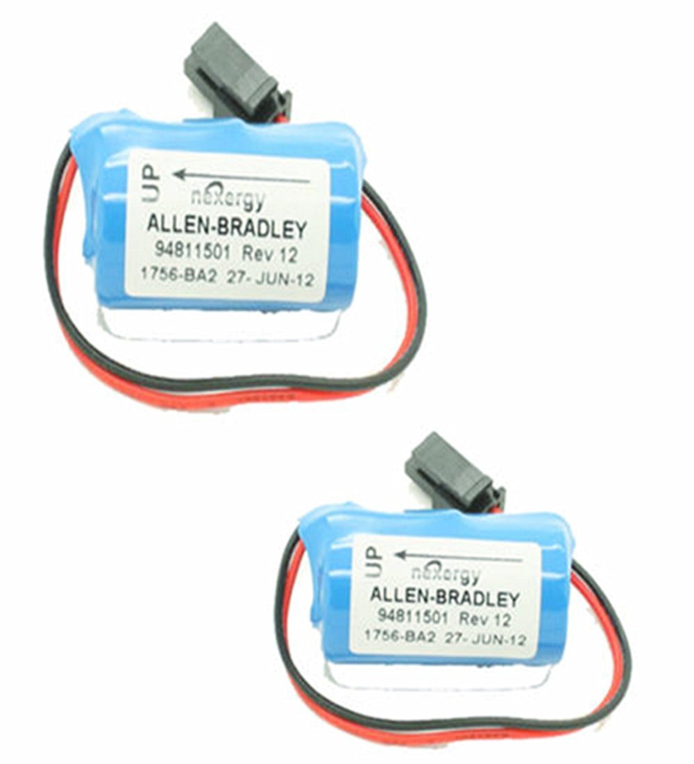 2 Pack 3V 1200mAh Replacement PLC Battery for Allen Bradley 1756-BA2 BR2/3A-AB