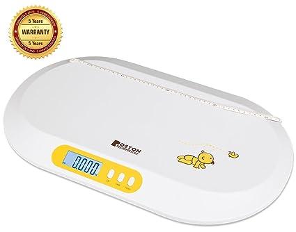 Boston Tech BA-104 - Bascula para bebés. Balanza digital con pantalla LCD y tallimetro