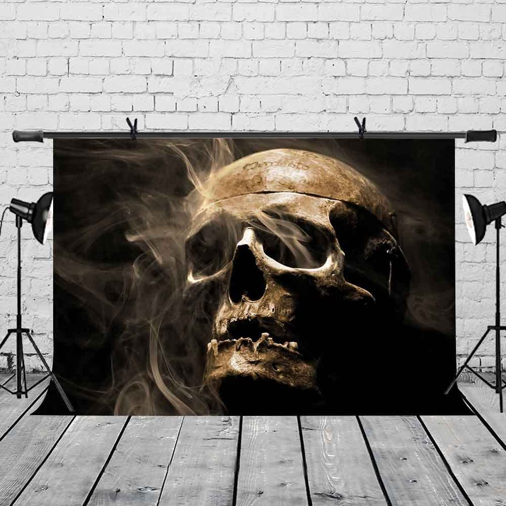 LYLYCTY 7x5ft Skull Backdrop Horror Scary Skull Disaster Theme Party Photography Background and Disaster Theme Party Backdrop Props LYP009