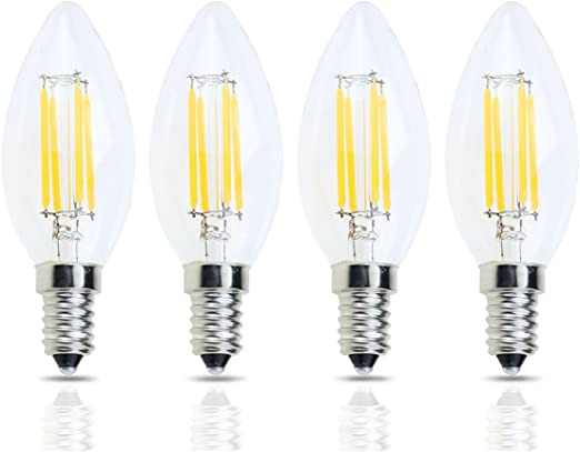 6W LED Flame Tip Bulbs JCKing 10-Pack AC 110-130V E26 LED Dimmable Filament Vintage Flame Tip Light Bulb SES Candle Light Bulb for Chandelier Warm White 60W Incandescent Bulbs Replacement