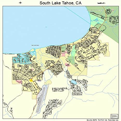 Amazon.com: Large Street & Road Map of South Lake Tahoe, California ...