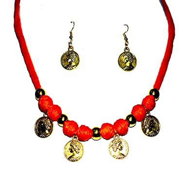 c715dec52 Buy Necklace Set of Cotton Thread Balls with golden beads and golden coins  Online at Low Prices in India | Amazon Jewellery Store - Amazon.in