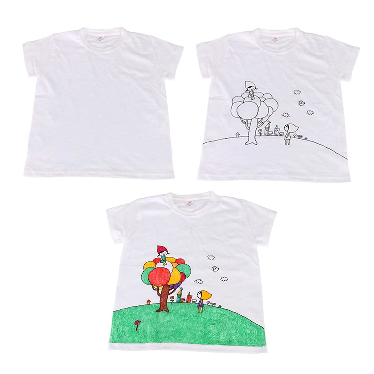 Adults White T shirt + Fabric Paint + Painting Brushes DIY Drawing Paint  Set Educational Toys for Children Kids Parent Child: Amazon.co.uk: Clothing