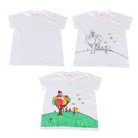 Vococal® Camiseta Blanca y Pintura de Tela y Pinceles de Pintura DIY Dibujo Conjunto de Pintura Juguetes Educativos para Adultos HQxyS6KL