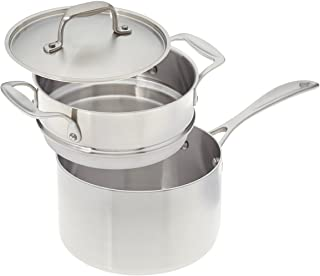 product image for American Kitchen Cookware 3-quart Stainless Steel Saucepan with Double Boiler Insert and Fitted Cover; Tri-Ply Stainless Steel; Manufactured in USA