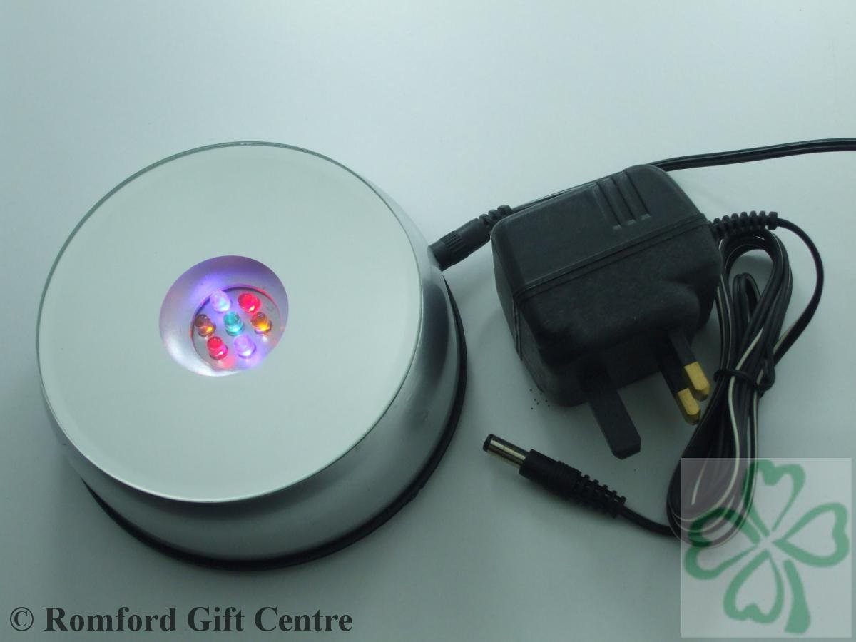 7 LED ROTATING LIGHT BASE 2993 WITH UK 3 PIN ADAPTER FOR DISPLAYING ...