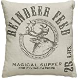 Primitives by Kathy 19934 Holiday Reindeer Feed Throw Pillow, 15-Inch Square
