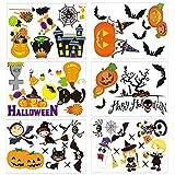 Halloween Window Clings, Kesile 53 Patterns Spooky Bat Pumpkins Window Clings Removable Shop Halloween Window Decals Halloween Theme Party Decorations Supplies 6 Sheets