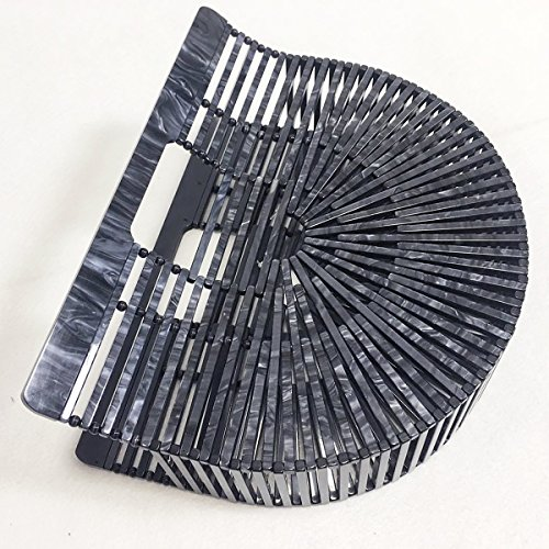 Miuco Ark Clutch Handbag Acrylic Black Purse Handmade Womens IqprBxIw
