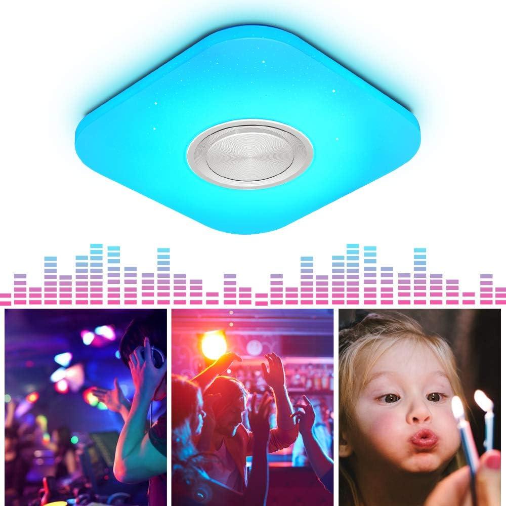 Lámpara LED de Techo Regulable con Altavoz Bluetooth, Mando a Distancia, 24W RGB Cambio de Color para Baño, Domitorios Juveniles, Salón, Lámpara de Techo Impermeable IP44 24 W, Cuadrado, 40 X 40 Cm