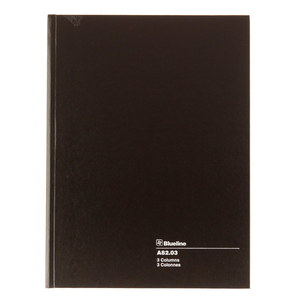 Blueline Account Book, Perfect Binding, 3 Columns with Description, 112 Pages, 10-1/4-Inch x 7-11/16-Inch, Black (A82.03) Blueline Canada