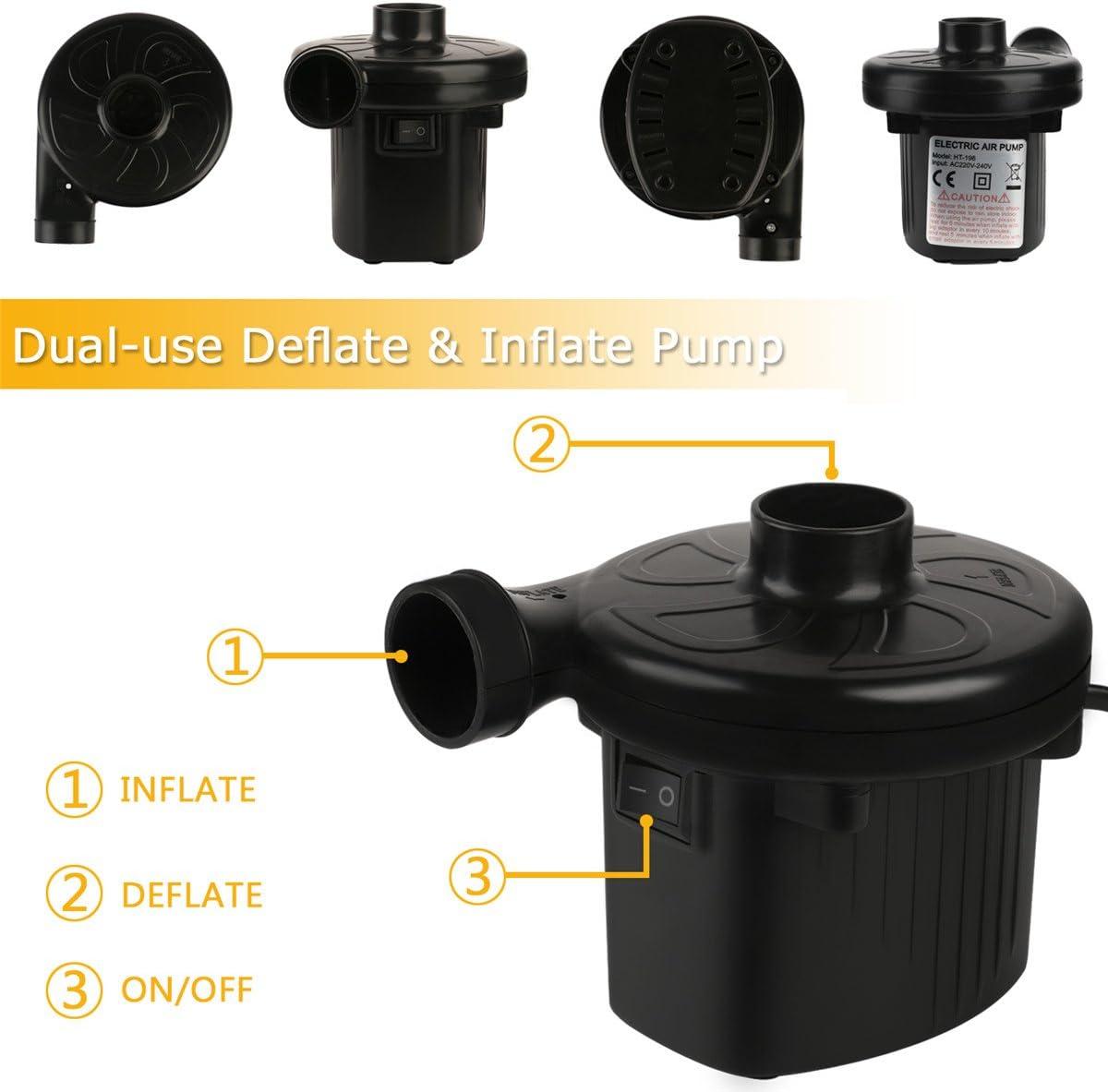 ONBET Elektrische Pumpe f/ür Inflatable Luftmatratze Planschbecken Spielzeug AC220-240V//130W Schwarz