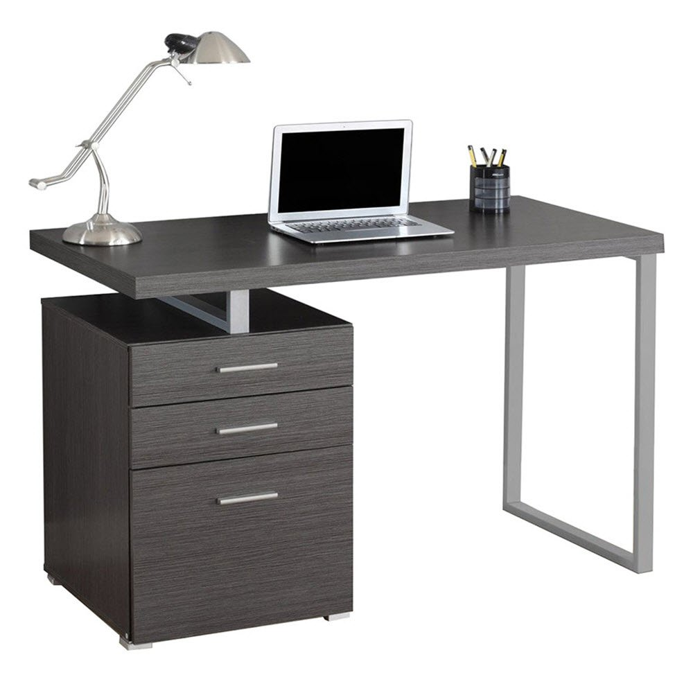 EURWAY Carey Modern Desk | 47.25'' Wide 23.75'' Deep Gray Laminate