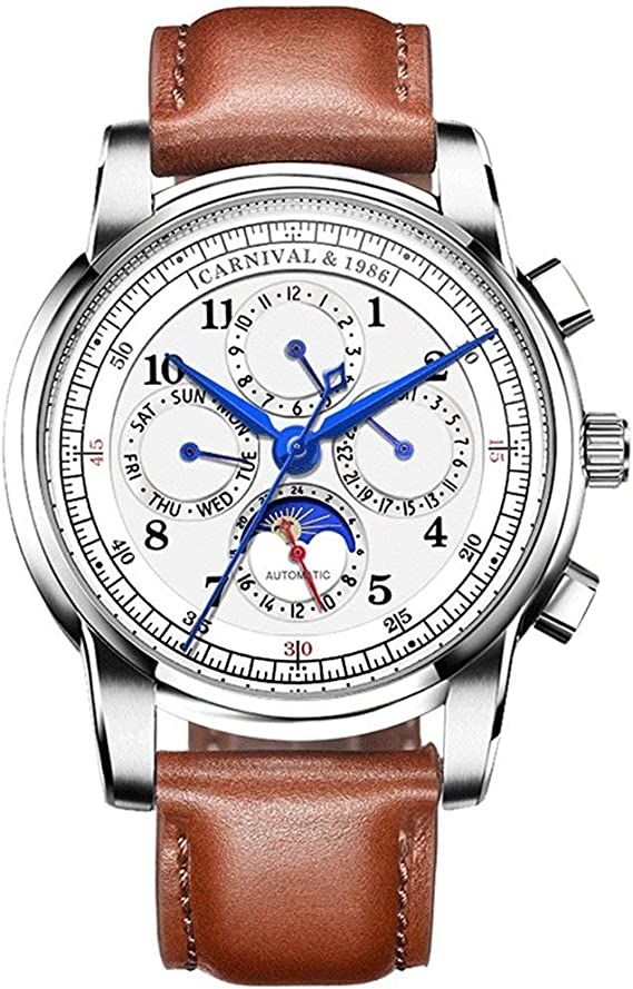 Men's Automatic Mechanical Watch Date Moon Phase 24-Hour Indication Calfskin Leather Transparent Watches