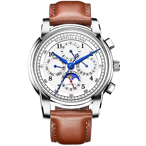 Mens Automatic Mechanical Watch Date Moon Phase 24-Hour Indication Calfskin Leather Transparent Watches