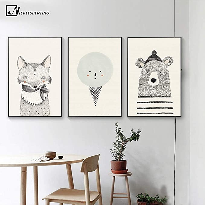 Amazon.com: Jewh (1 pecie Frameless Nordic Art Bear Fox Canvas Poster - Painting Cartoon Animal Wall Picture Print Children Baby Room Decoration (30x40cm) ...