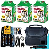 Xtech FujiFilm Instax Mini Accessories Kit f/ Fujifilm Instax Mini 8, Mini 8 N, Mini 7, Mini 7s, Mini 25, Mini 90 Includes: 60 Instax Instant Film + Fitted Case + 4AA Batteries + AC/DC Charger + MORE