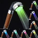 Lonique Filtre Pommes de Douche, PYRUS Pomme de douche à haute pression Spa Filtre ionique négatif Pomme de douche 7 pomme de douche LED à changement de couleur (P1)