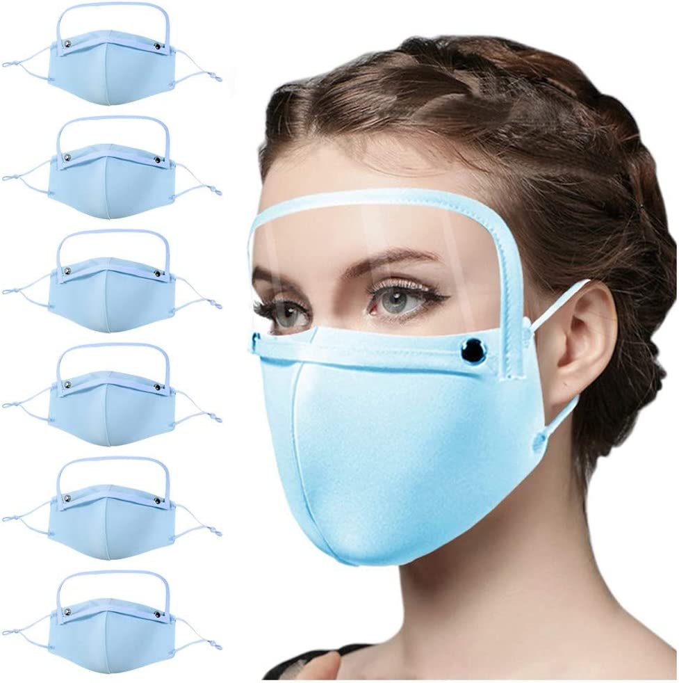 Hechun 6PCS Adult Dustproof Face Bandanas Reusable Washable Protection with Detachable Eyes Guard Adjustable Ear Strap