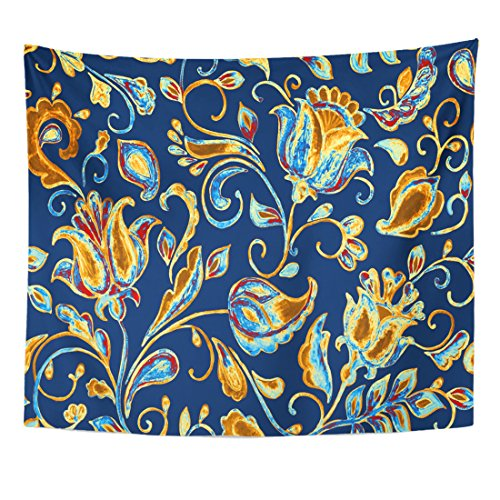 VaryHome Tapestry Watercolor Floral Flower Tiling Colorful with Beige Gold Abstract Whimsical Tulips Paisley Leaves on Dark Home Decor Wall Hanging for Living Room Bedroom Dorm 50x60 (Tulip Floral Tapestry)