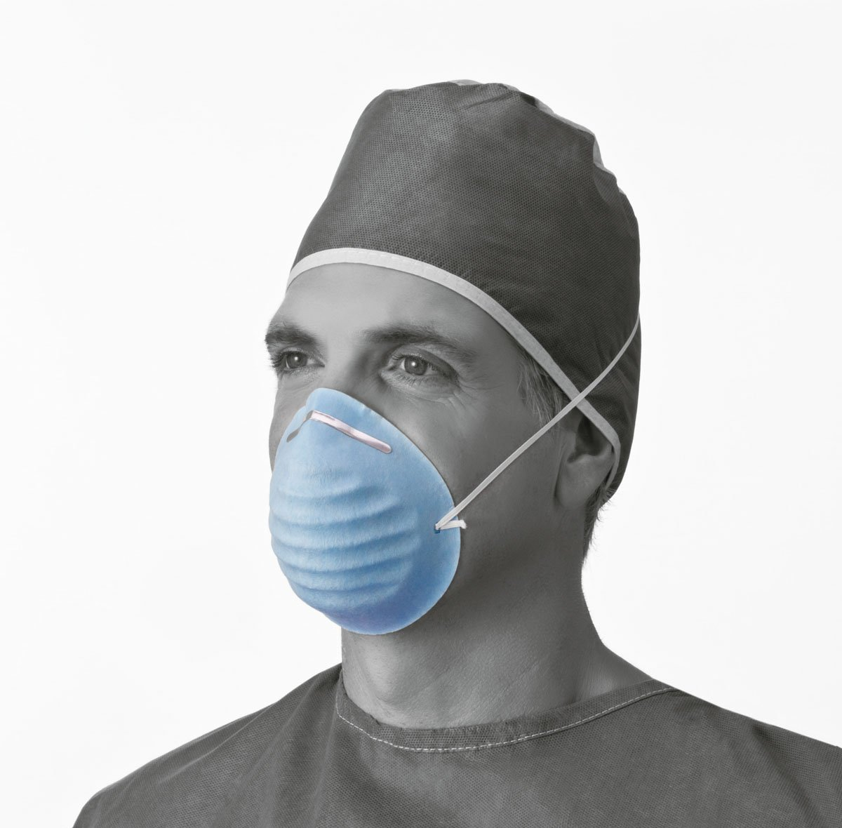 Medline Industries NON27381 Surgical Face Mask, Cone-Style, Latex Free, Blue (Pack of 300) by Medline