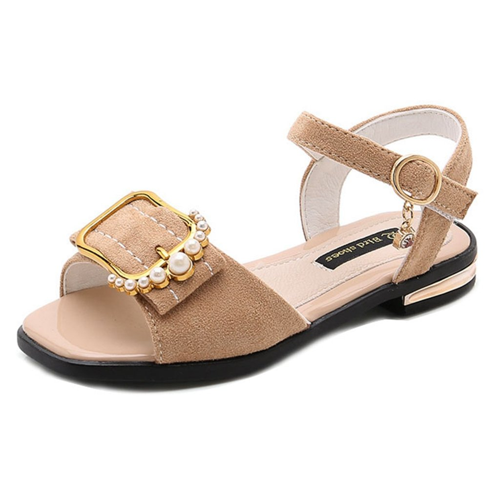Toddler Kids Girls Open Toe Sandals Soft Suede Leather Pearl Buckle Non-Slip Princess Sandal Shoes
