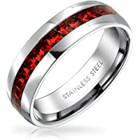July Birth Month Red Color Channel Set Crystal Eternity Band Ring for Women for Men Silver Toned Stainless Steel