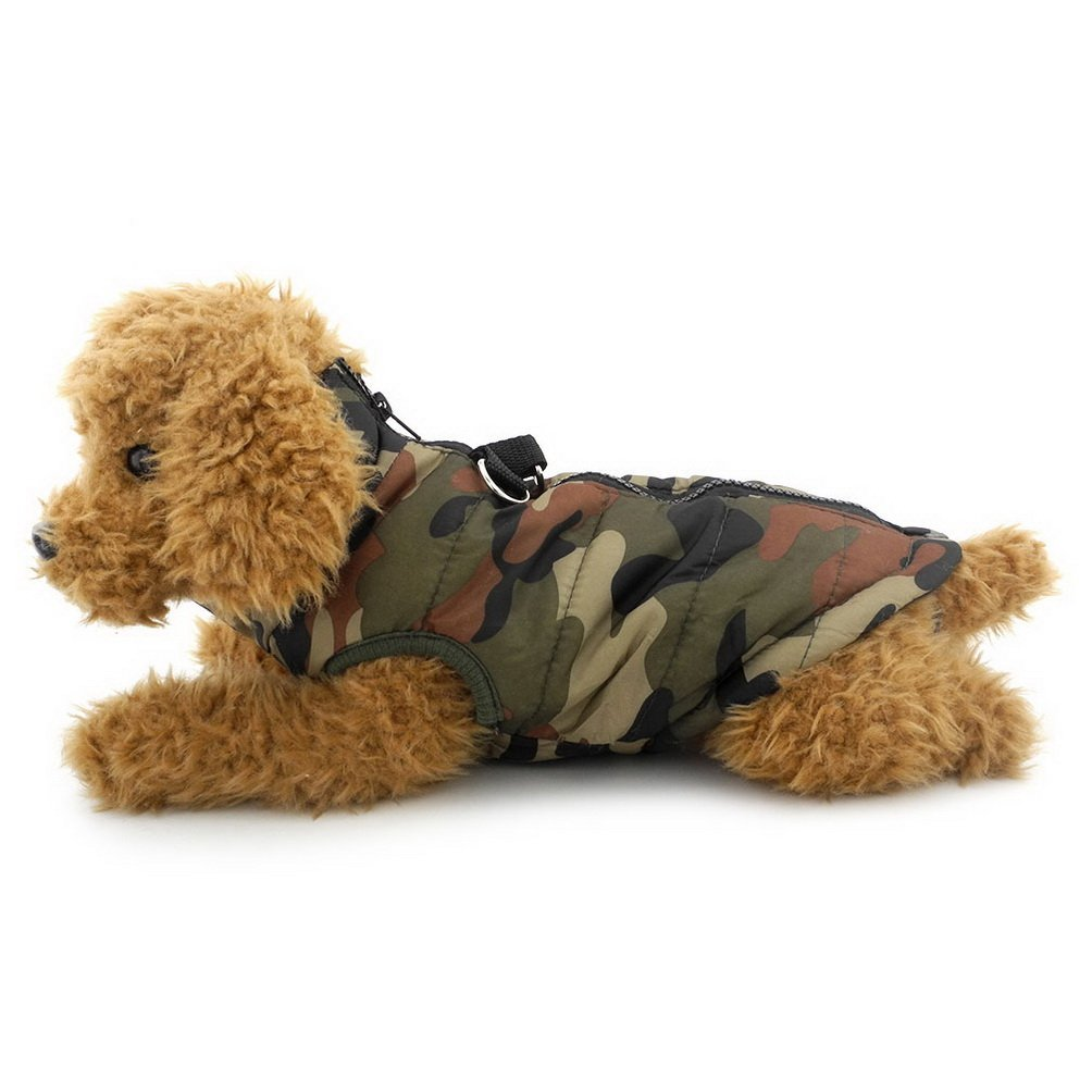 SELMAI Soft Harness Vest Coat for Small Dog Padded Jacket Zipper Closure Toy Poodle Clothes Green Camo Size XL