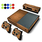 Skin For Xbox One - Morbuy Vinyl Full Body Protective Sticker Cover Decal For Microsoft Xbox One Console & 2 Dualshock Controller Skins + 10pc Silicone Thumb Grips (Wood Brown)
