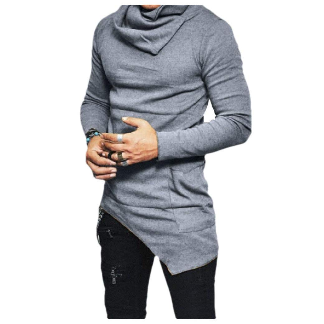 Losait Men Pure Colour Blouse T Shirt Long Sleeve Loose Casual Tunic Tops