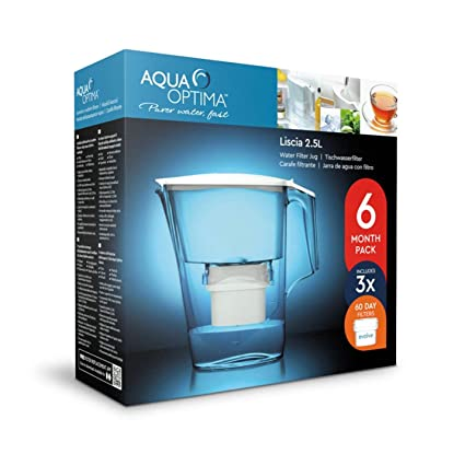 Aqua Optima Liscia Home Drinking Water Filters Jug 30 Day Evolve Pack White 2.5L