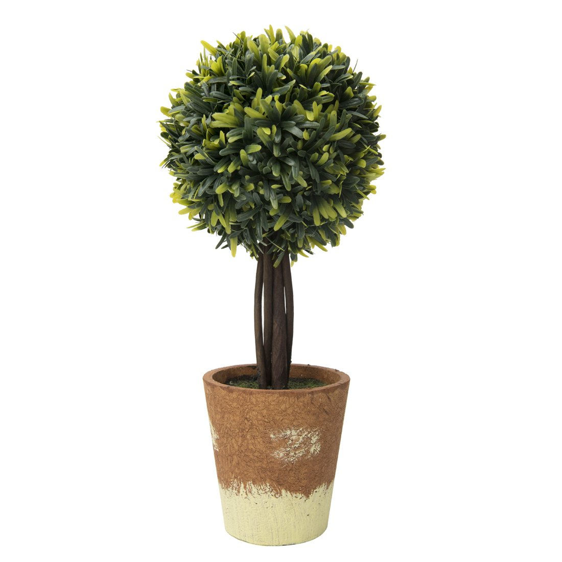 """RUOPEI Artificial Boxwood Topiary Ball Tree in Planter – 16.5"""" Realistic Fake Plastic Greenery Plant for Home Shelving, Office Desks, Event Tabletop, Counter Top Decor"""