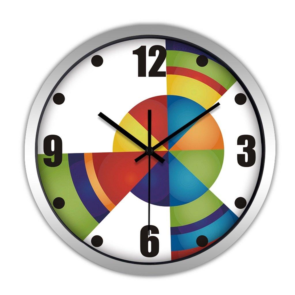 掛け時計 ウォールクロックリビングルームモダンクリエイティブミュートベッドルームシンプルな時計レストランホームデコレーションウォールクロック Rollsnownow (色 : シルバー しるば゜, サイズ さいず : 12インチ) B07BKZM26P 12インチ|シルバー しるば゜ シルバー しるば゜ 12インチ