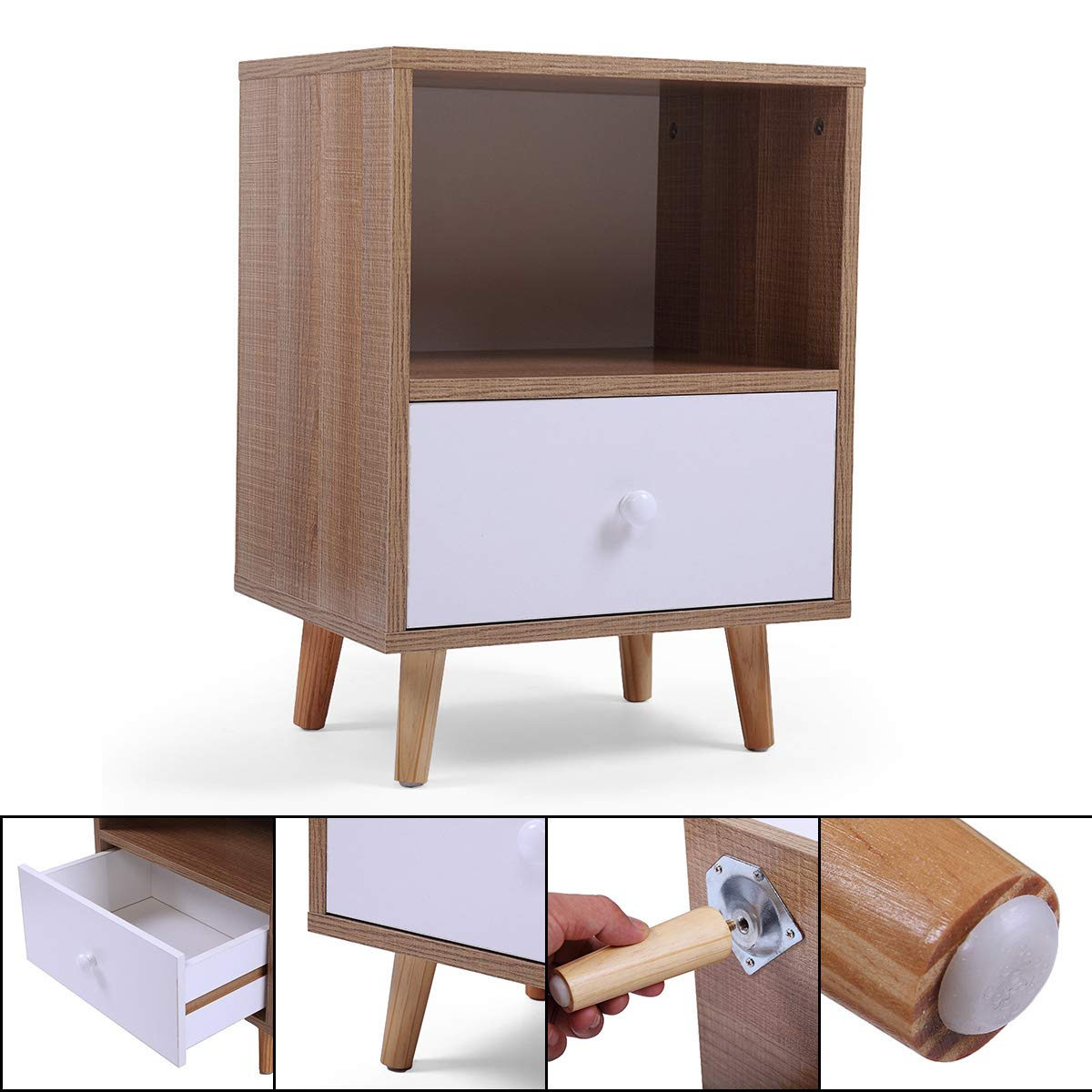 Set of 2 Night Stand 2 Layer w/Drawer Bedside End Table Organizer Bedroom by Betterhomechoice (Image #8)