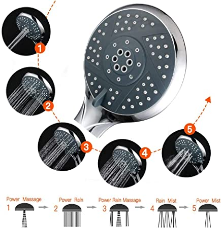 Alcachofa de ducha de mano de alta presi/ón manguera de acero inoxidable mejorada de 2 m antifugas universal Reyke 5 pulverizadores con manguera para aumentar la presi/ón