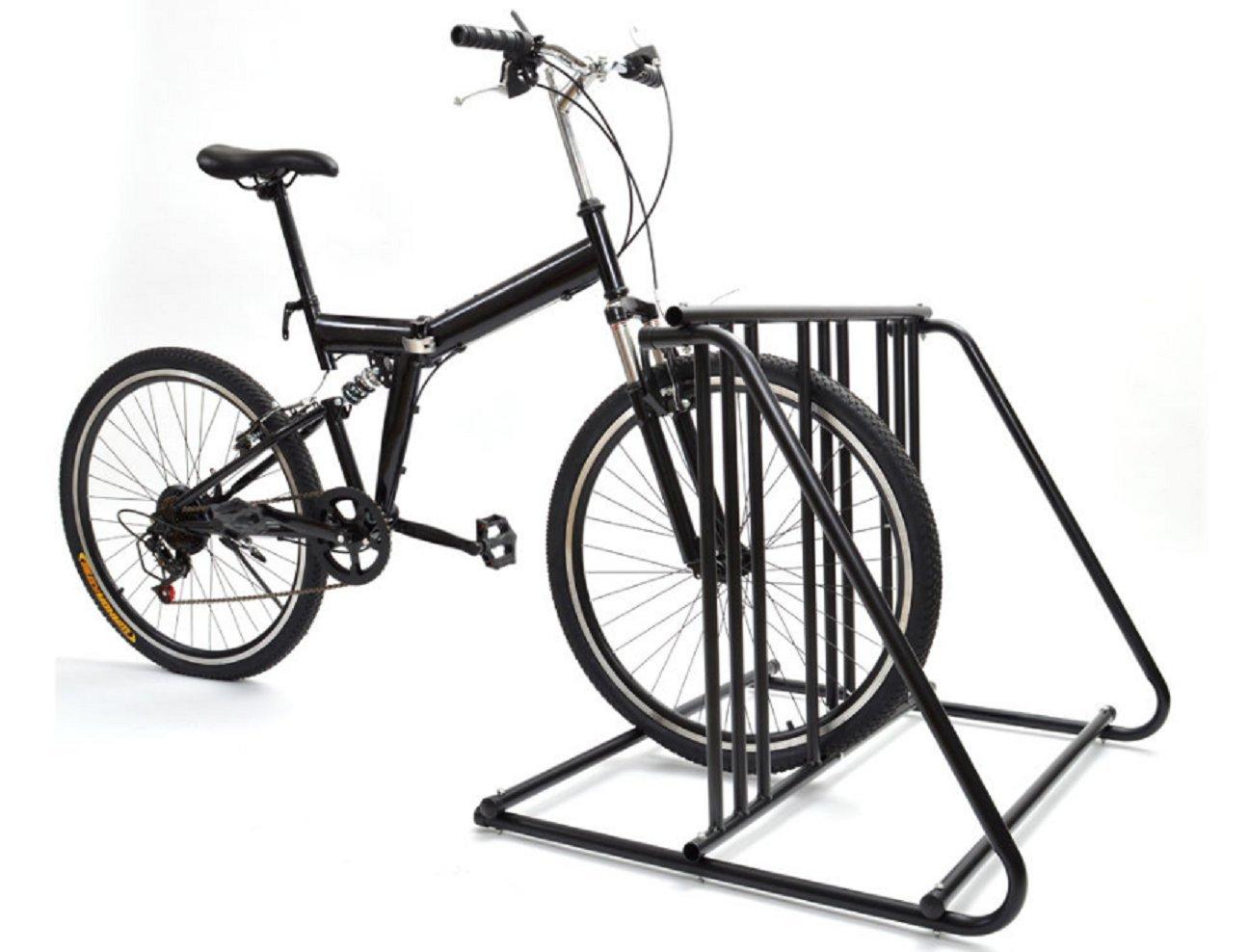 バイクストレージラック壁ガレージスタンドバイクアウトドアインドアPakingブレーキ- 6 Bikesスチール公園スタンドブラック仕上げ2 / 3 / 4 / 5 B01MTM5Y3G