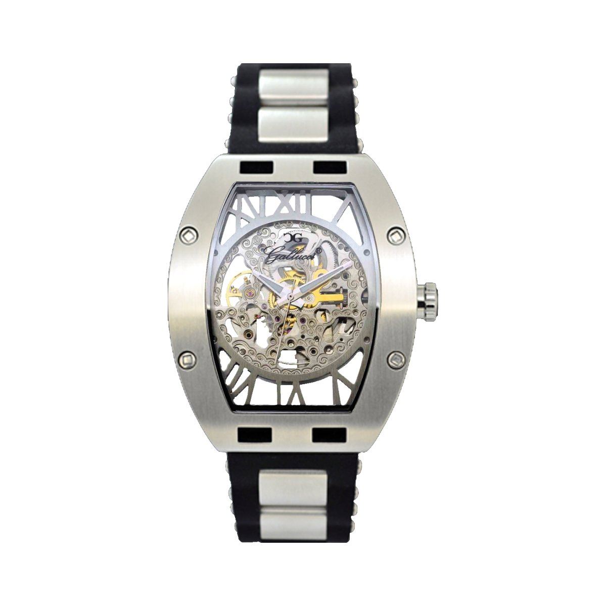 Gallucci Men's Women's WT22272SK/SSP-PNP Sporty Luxury Automatic Stainless Steel Watch with Black Band