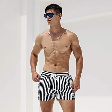 b63cbdcb59d1 Cotress Breathable and Comfortable Soft Men's Trunks Loose Swimming Trunks  Fashion Stripe Quick-Drying Embarrassed-Proof Beach Pants Hot Springs Water  Park ...